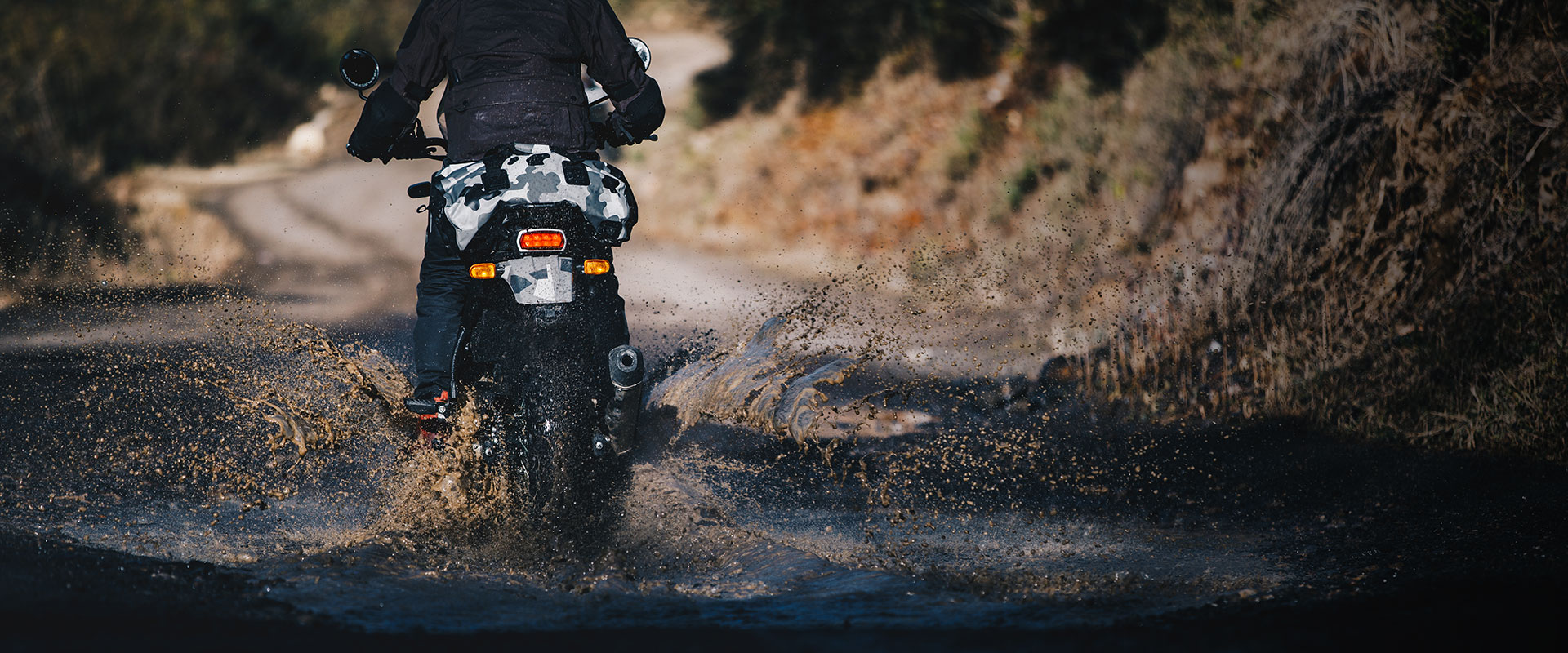 Royal Enfield Himalayan riding through water