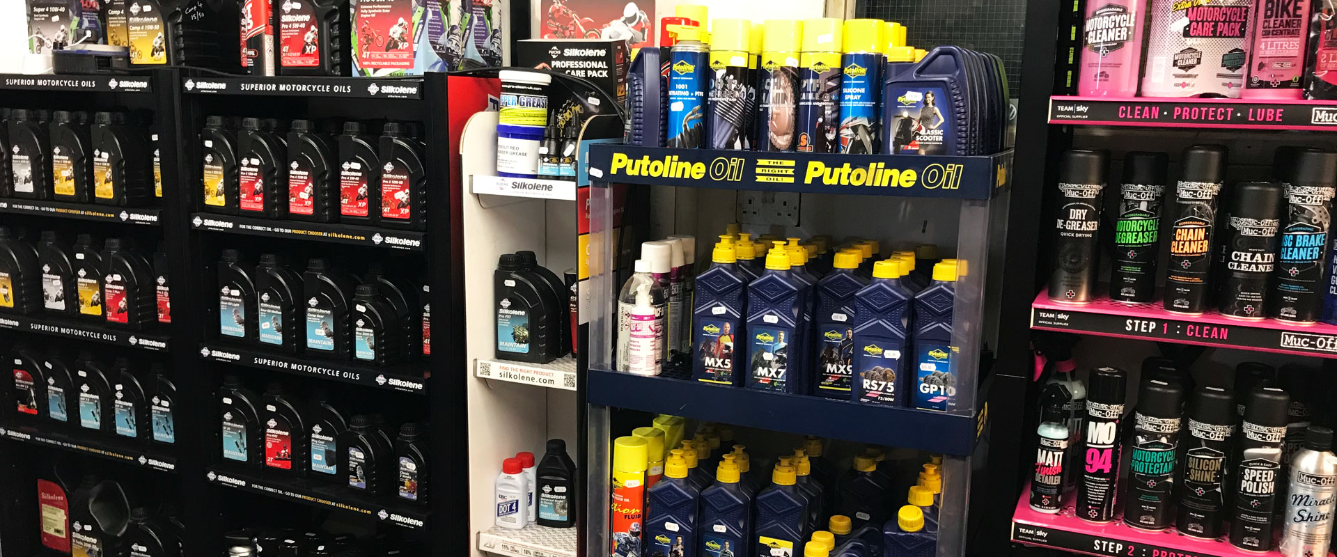 We stock a wide range of motorcycle accessories, including consumables like oil and cleaning products